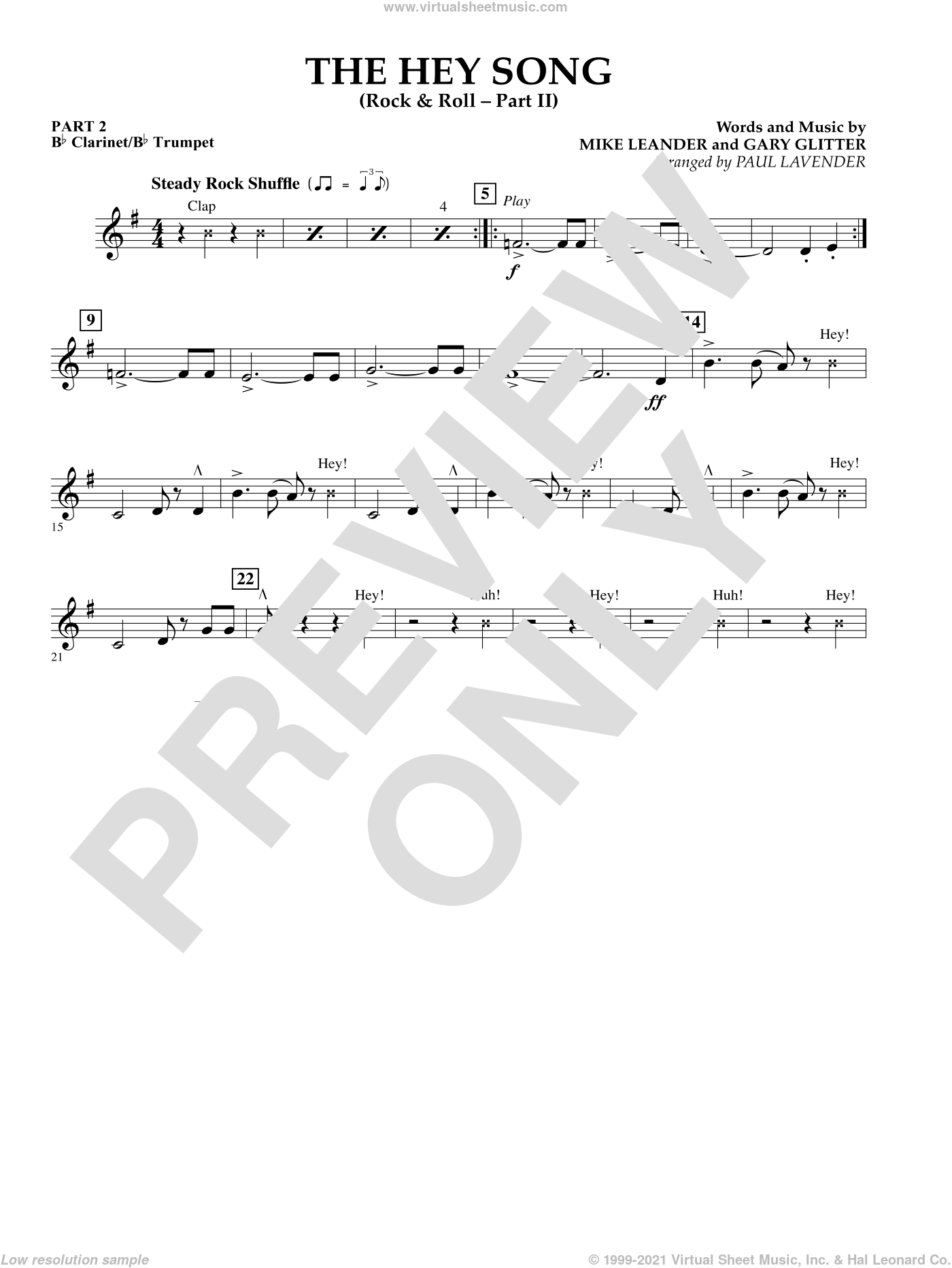 The Hey Song (Rock and Roll Part II) (Flex-Band) sheet music for concert band (Bb clarinet/bb trumpet) by Paul Lavender and Mike Leander. Score Image Preview.