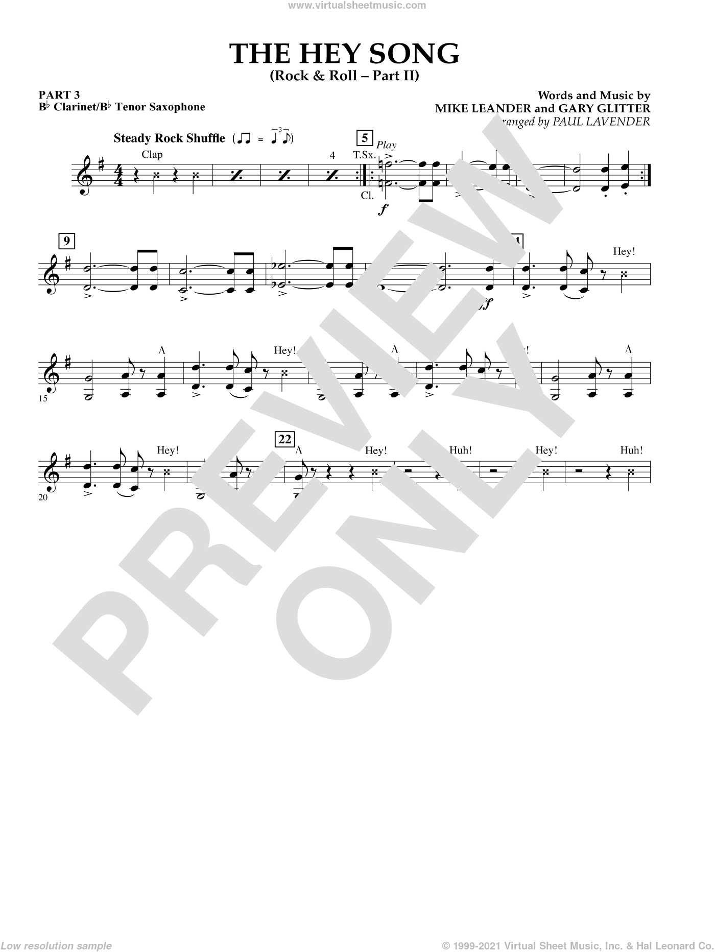The Hey Song (Rock and Roll Part II) (Flex-Band) sheet music for concert band (Bb clarinet/tenor sax) by Gary Glitter and Paul Lavender. Score Image Preview.
