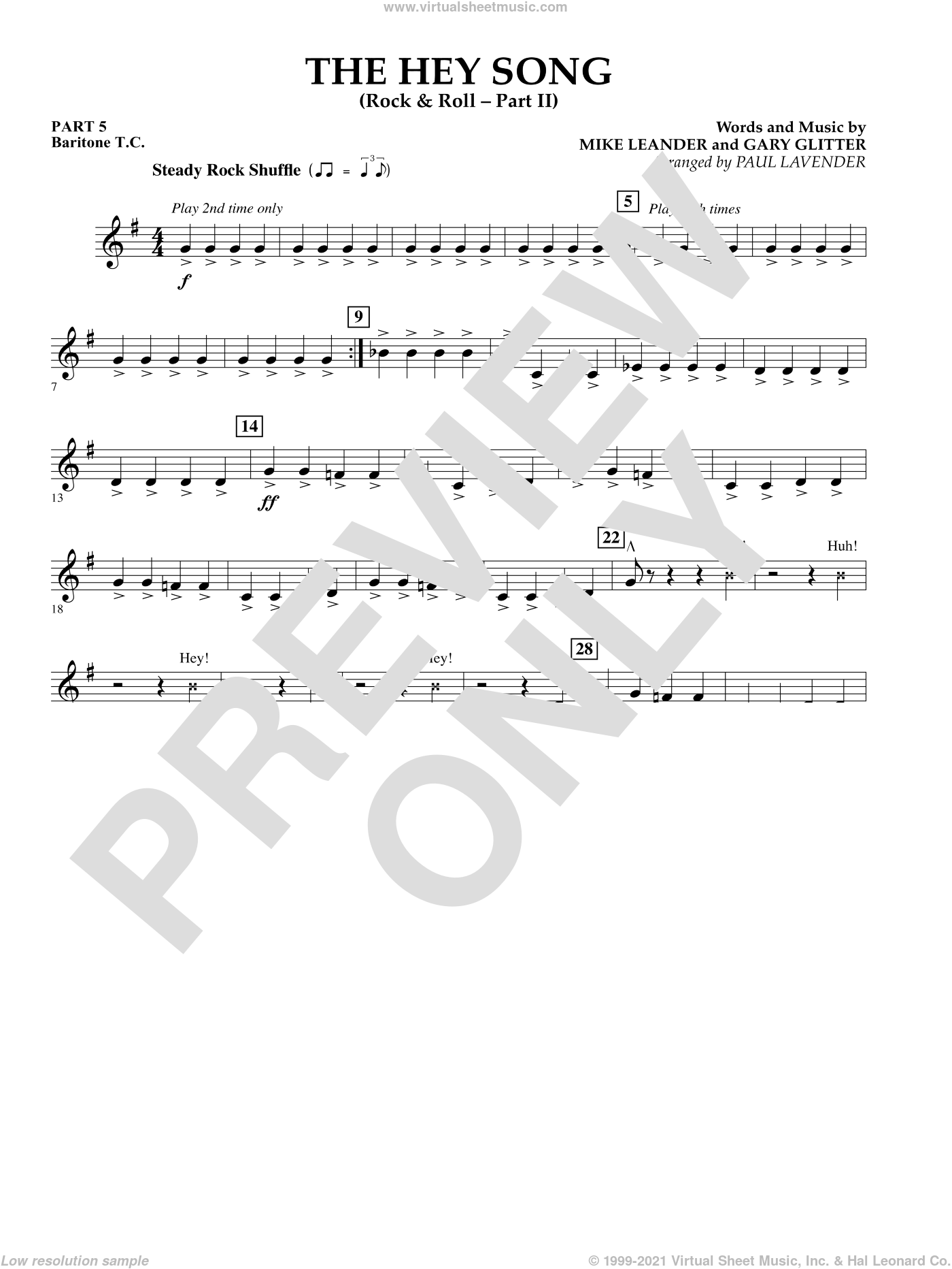 The Hey Song (Rock and Roll Part II) (Flex-Band) sheet music for concert band (pt.5 - baritone t.c.) by Gary Glitter, Paul Lavender and Mike Leander, intermediate