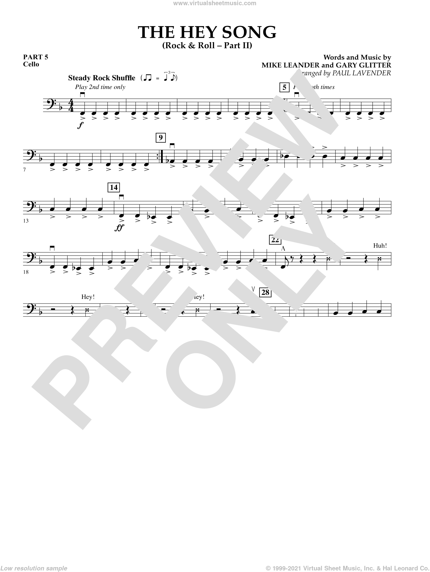 The Hey Song (Rock and Roll Part II) (Flex-Band) sheet music for concert band (pt.5 - cello) by Gary Glitter and Paul Lavender, intermediate. Score Image Preview.