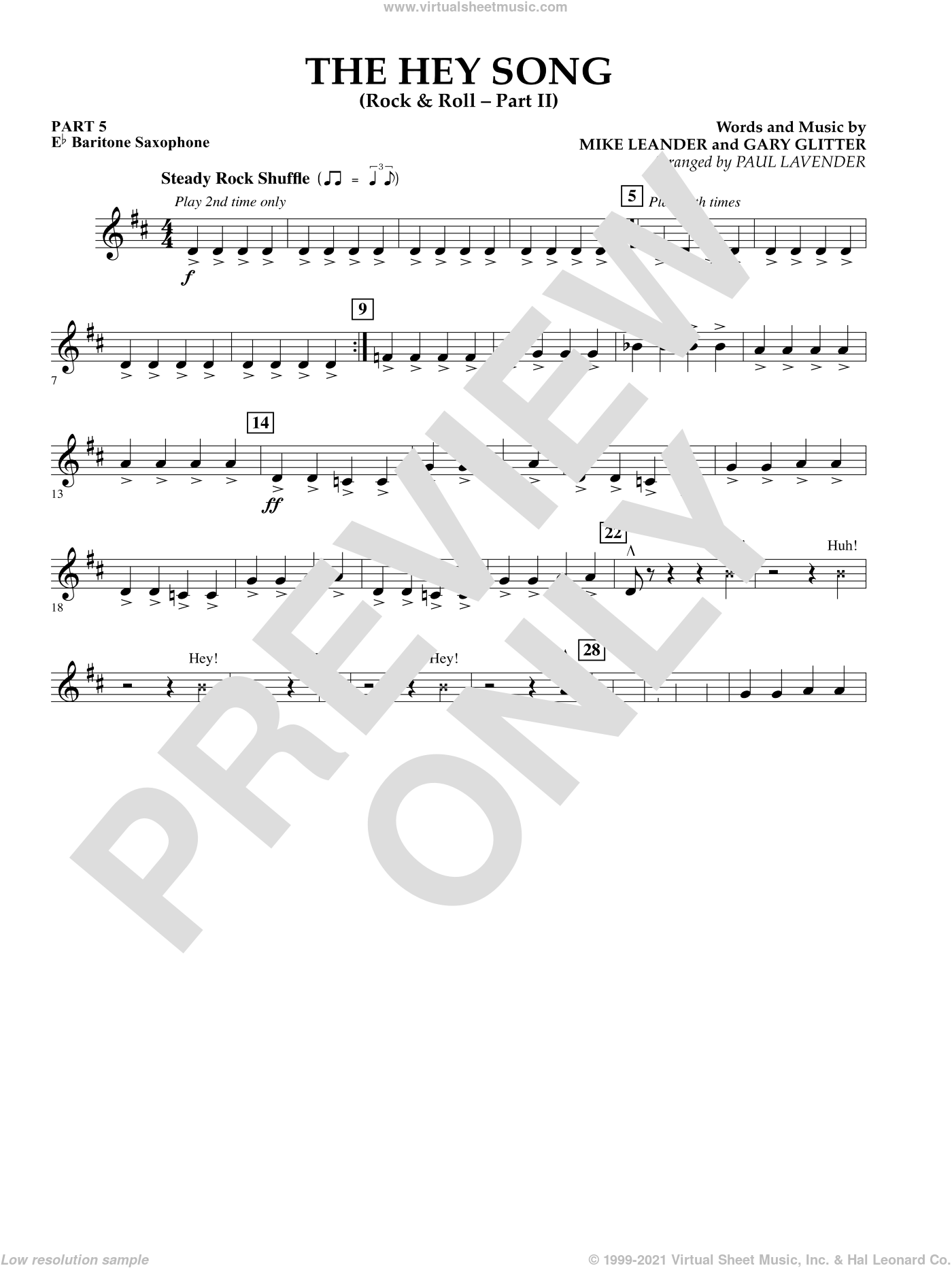The Hey Song (Rock and Roll Part II) (Flex-Band) sheet music for concert band (pt.5 - Eb baritone saxophone) by Gary Glitter, Paul Lavender and Mike Leander, intermediate. Score Image Preview.