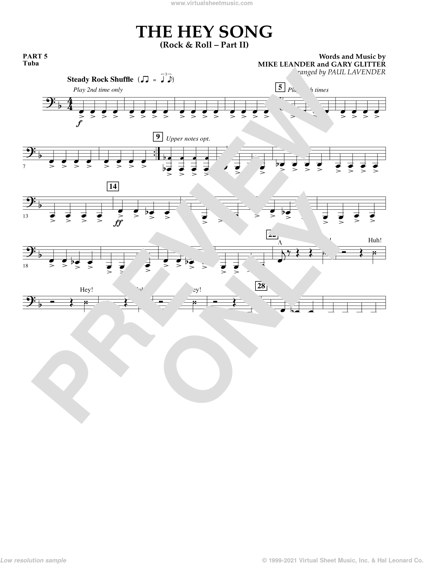 The Hey Song (Rock and Roll Part II) (Flex-Band) sheet music for concert band (pt.5 - tuba) by Gary Glitter, Paul Lavender and Mike Leander, intermediate skill level