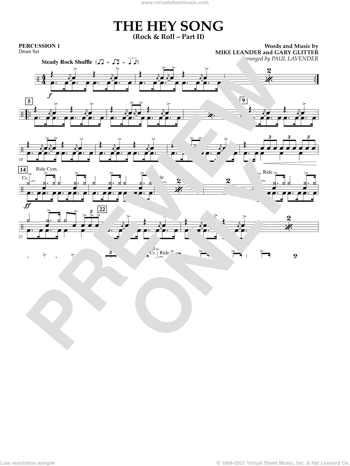 The Hey Song (Rock and Roll Part II) (Flex-Band) sheet music for concert band (percussion 1) by Gary Glitter, Paul Lavender and Mike Leander, intermediate skill level