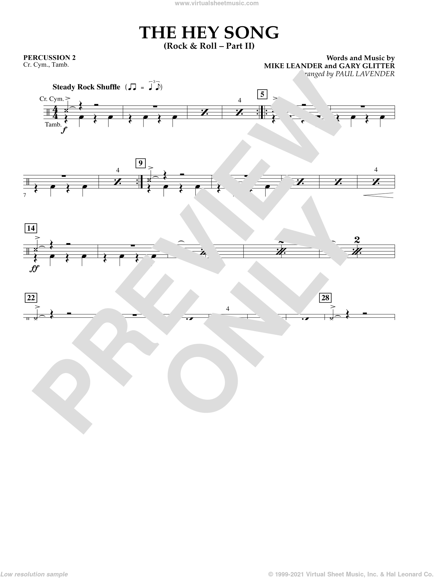The Hey Song (Rock and Roll Part II) (Flex-Band) sheet music for concert band (percussion 2) by Gary Glitter and Paul Lavender, intermediate concert band (percussion 2). Score Image Preview.