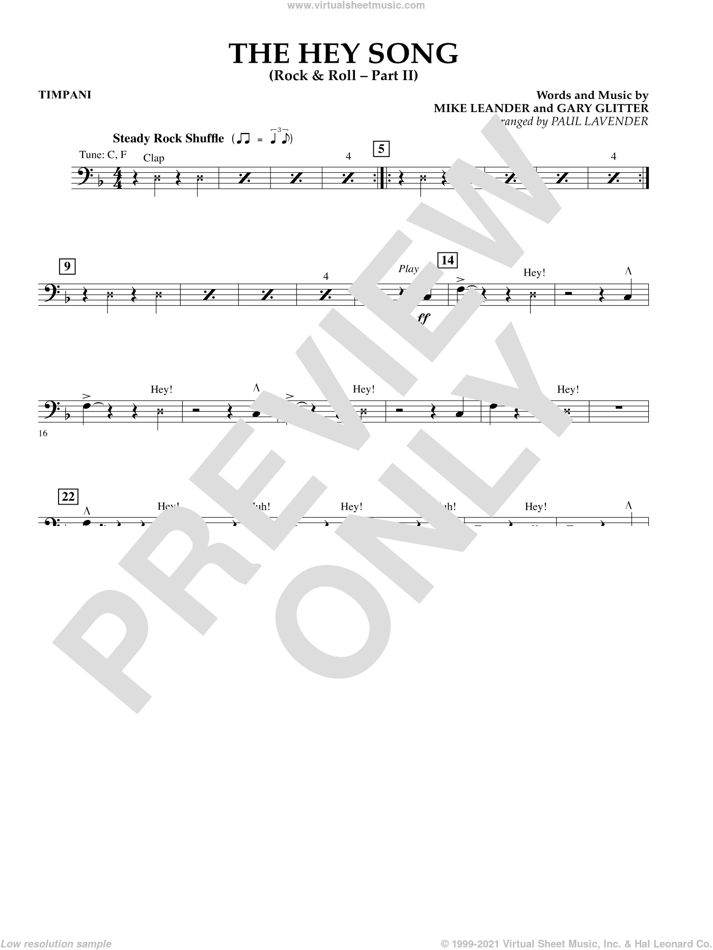 The Hey Song (Rock and Roll Part II) (Flex-Band) sheet music for concert band (timpani) by Gary Glitter and Paul Lavender, intermediate. Score Image Preview.