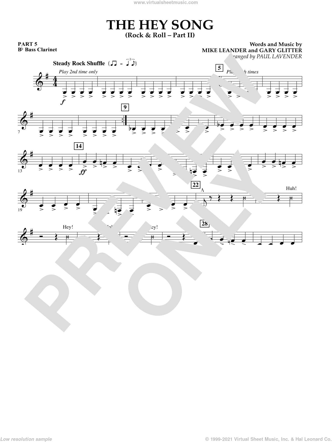 The Hey Song (Rock and Roll Part II) (Flex-Band) sheet music for concert band (pt.5 - Bb bass clarinet) by Mike Leander, intermediate skill level