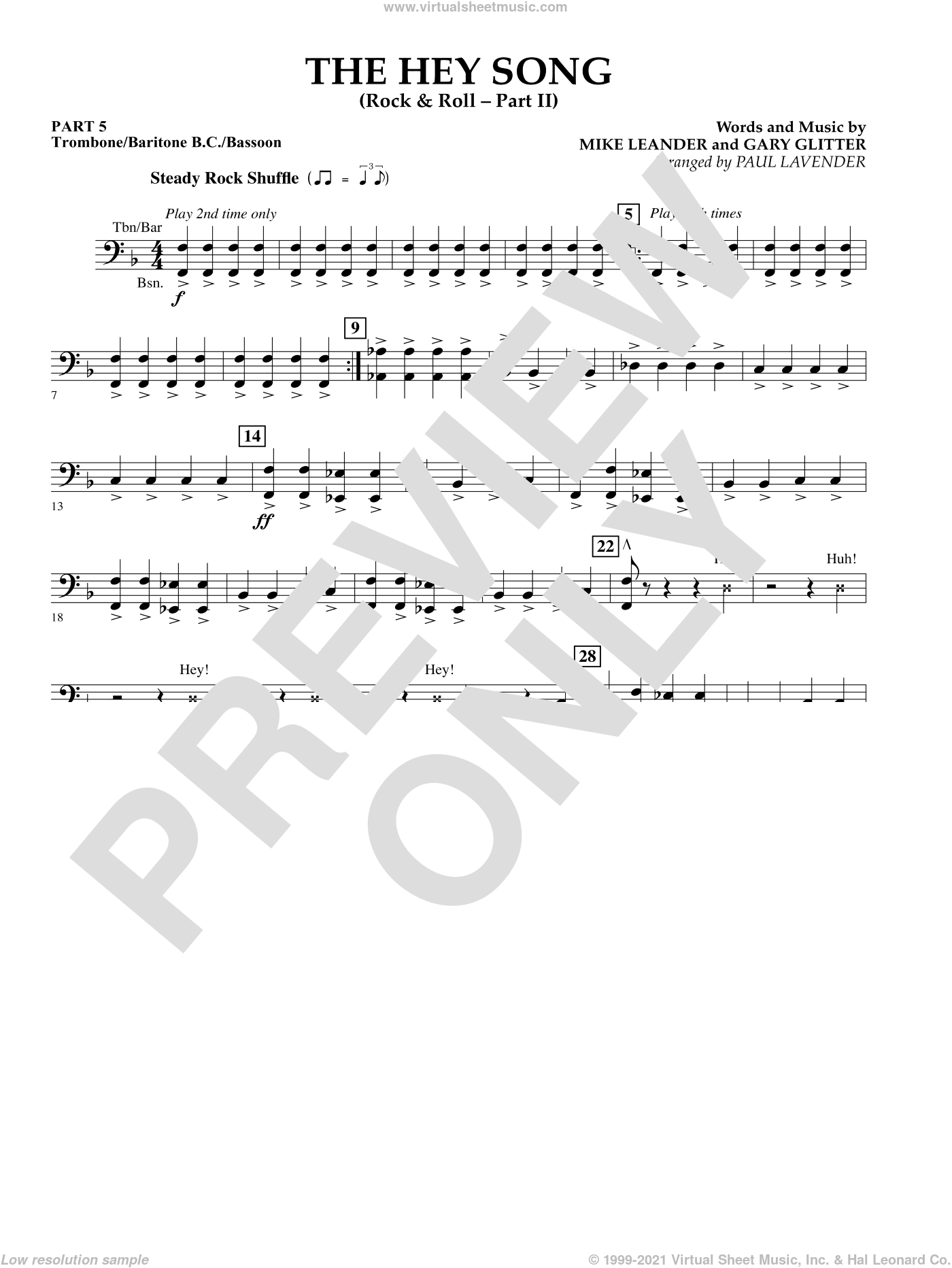 The Hey Song (Rock and Roll Part II) (Flex-Band) sheet music for concert band (trombone/bar. b.c./bsn.) by Gary Glitter, Paul Lavender and Mike Leander, intermediate skill level