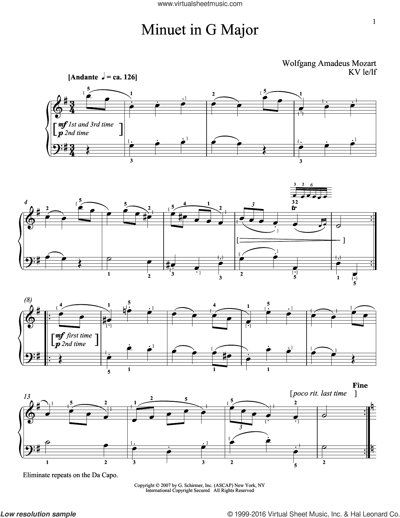 Minuet In G Major, K. 1 sheet music for piano solo by Wolfgang Amadeus Mozart, classical score, intermediate skill level