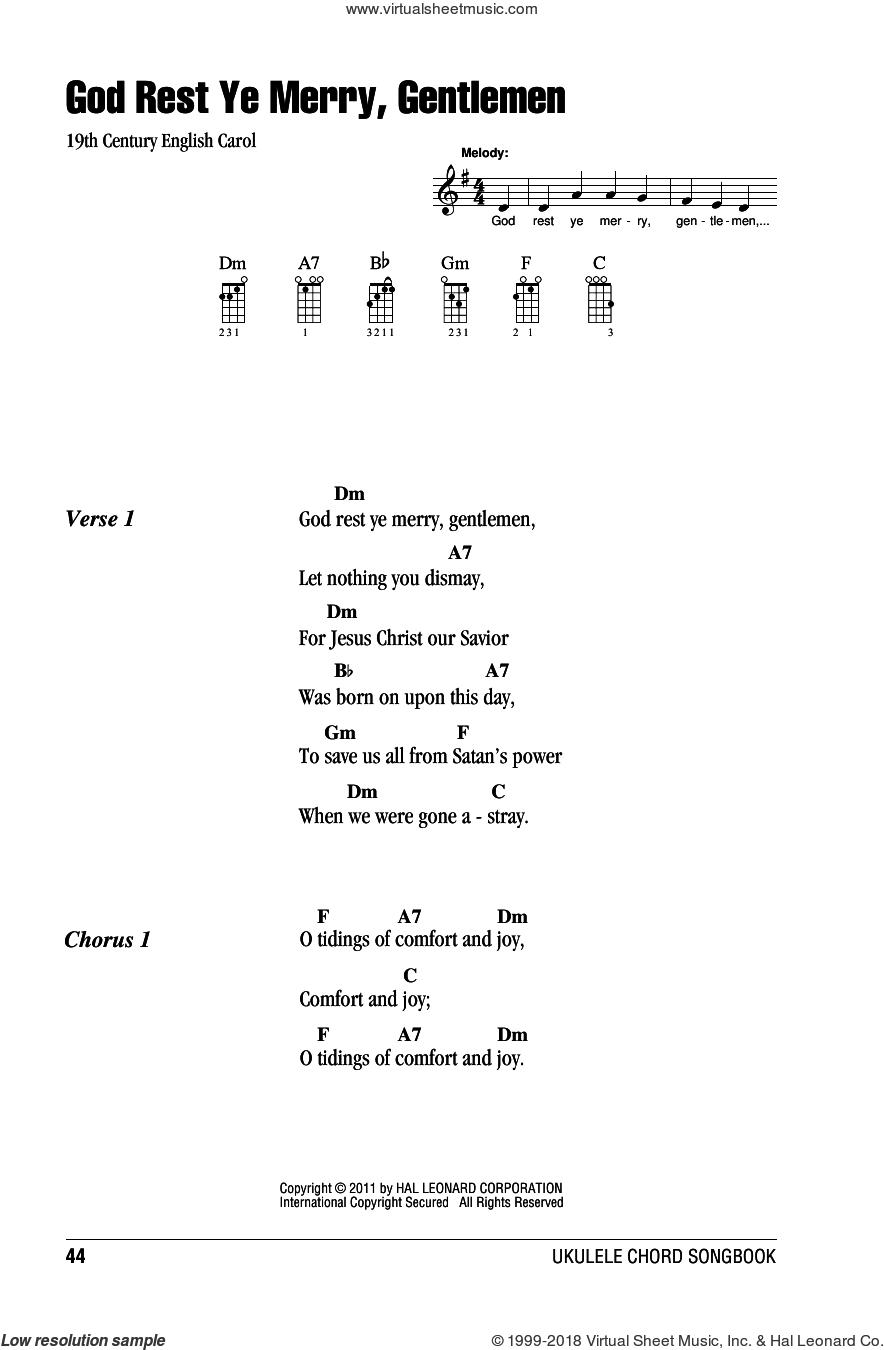 God Rest Ye Merry, Gentlemen sheet music for ukulele (chords), intermediate skill level