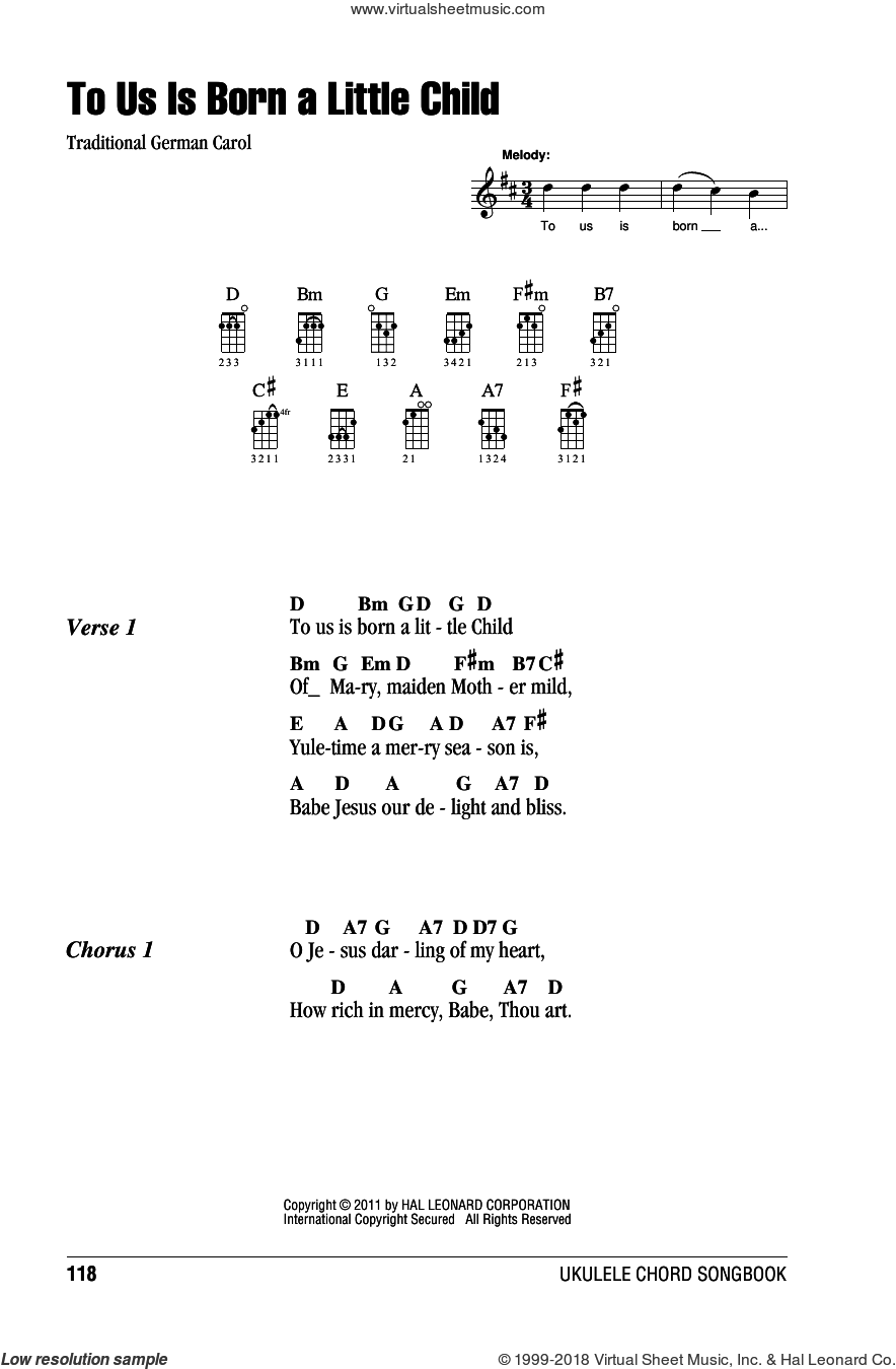 To Us Is Born A Little Child sheet music for ukulele (chords), intermediate skill level