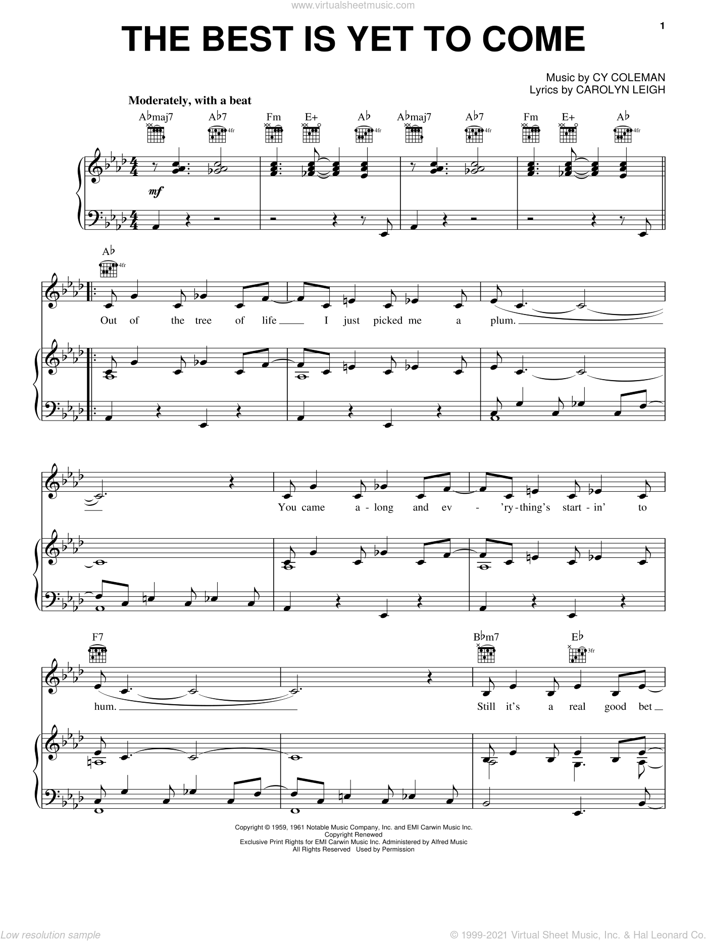 The Best Is Yet To Come sheet music for voice, piano or guitar by Frank Sinatra, Tony Bennett, Carolyn Leigh and Cy Coleman, intermediate. Score Image Preview.