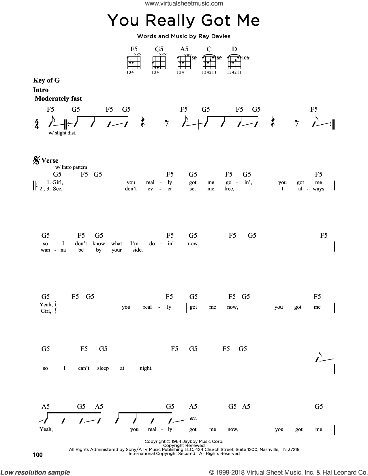 You Really Got Me sheet music for guitar solo (lead sheet) by The Kinks, Edward Van Halen and Ray Davies, intermediate guitar (lead sheet)