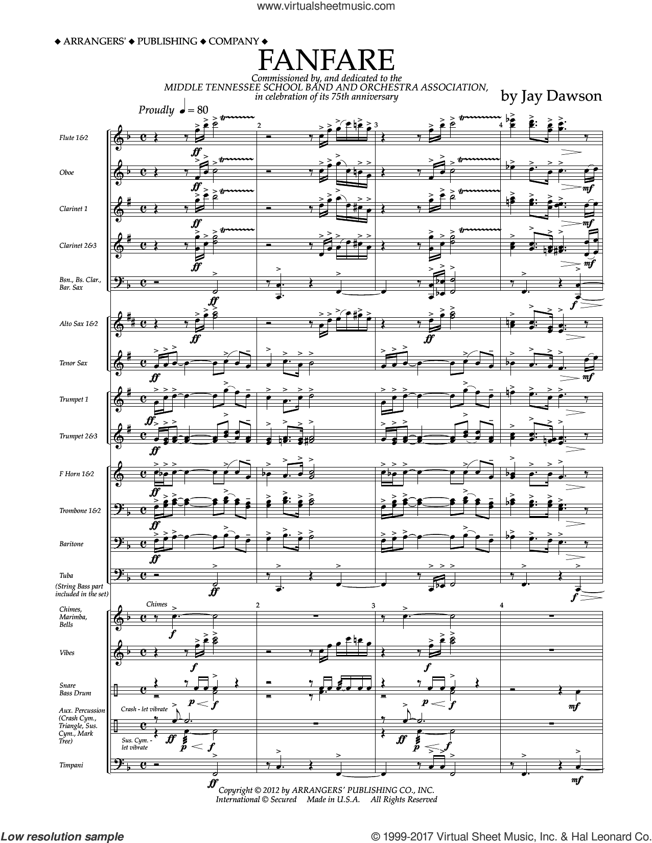 Fanfare (COMPLETE) sheet music for concert band by Jay Dawson, intermediate