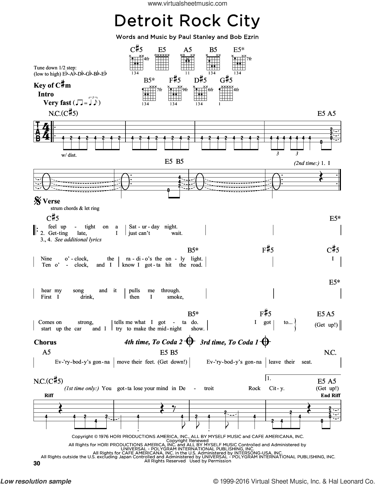 Detroit Rock City sheet music for guitar solo (lead sheet) by Paul Stanley, KISS and Bob Ezrin. Score Image Preview.