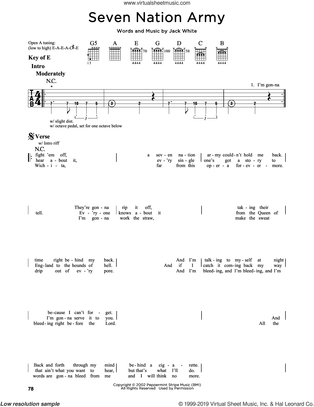 stripes seven nation army sheet music for guitar solo lead sheet. Black Bedroom Furniture Sets. Home Design Ideas