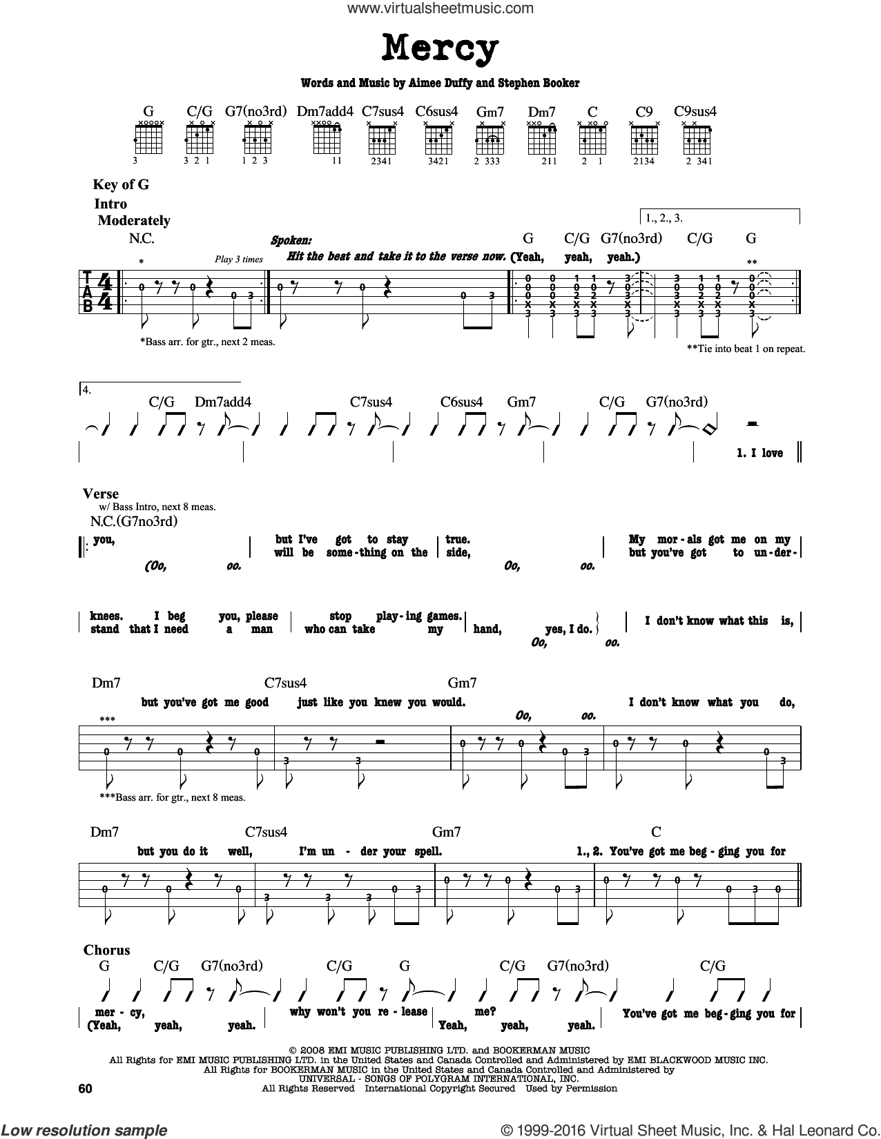Mercy sheet music for guitar solo (lead sheet) by Steve Booker and Aimee Duffy. Score Image Preview.