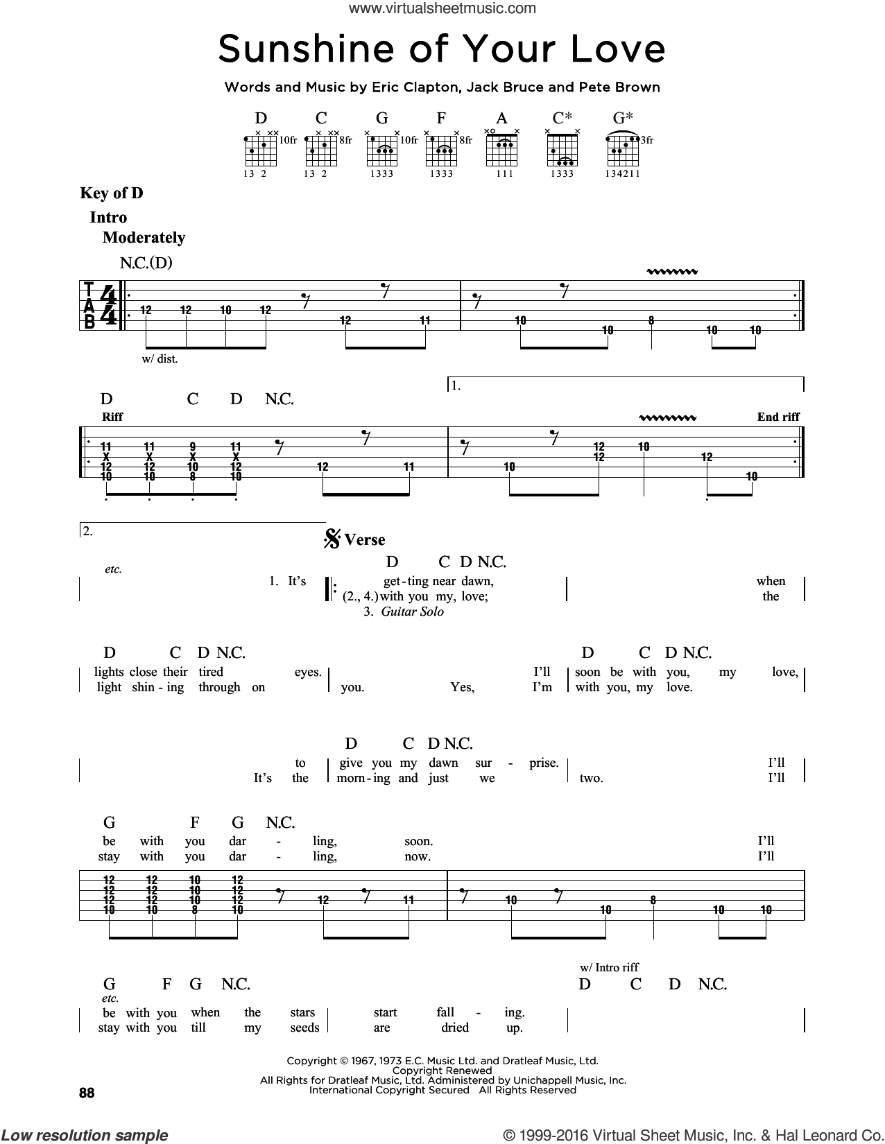 Sunshine Of Your Love sheet music for guitar solo (lead sheet) by Cream, Eric Clapton, Jack Bruce and Pete Brown, intermediate guitar (lead sheet)