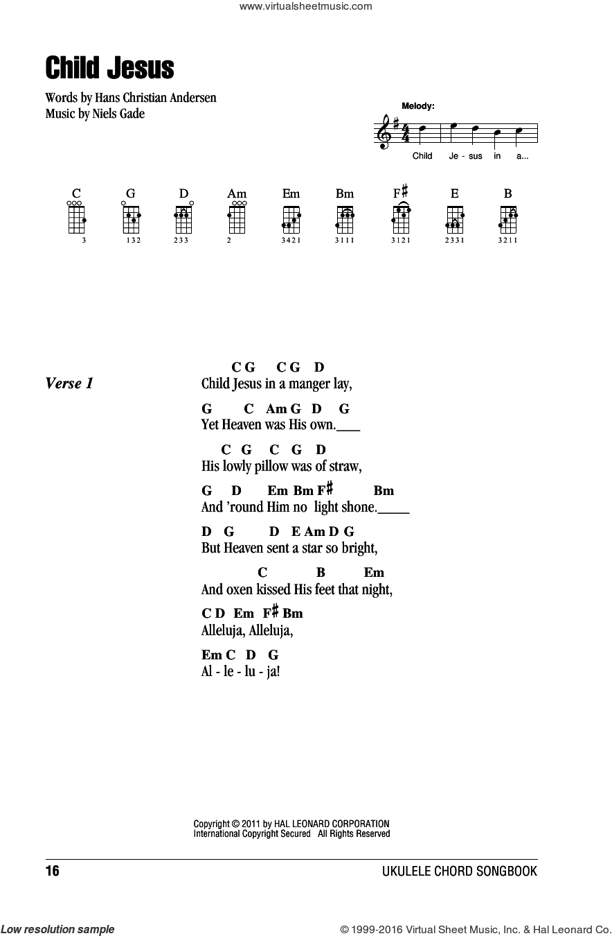Child Jesus sheet music for ukulele (chords) by Niels Gade and Hans Christian Andersen, intermediate skill level