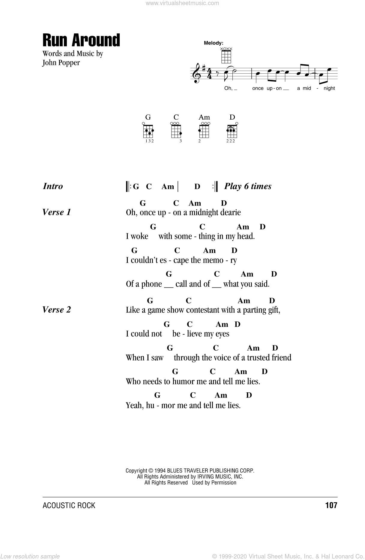 Run Around sheet music for ukulele (chords) by Blues Traveler and John Popper, intermediate skill level