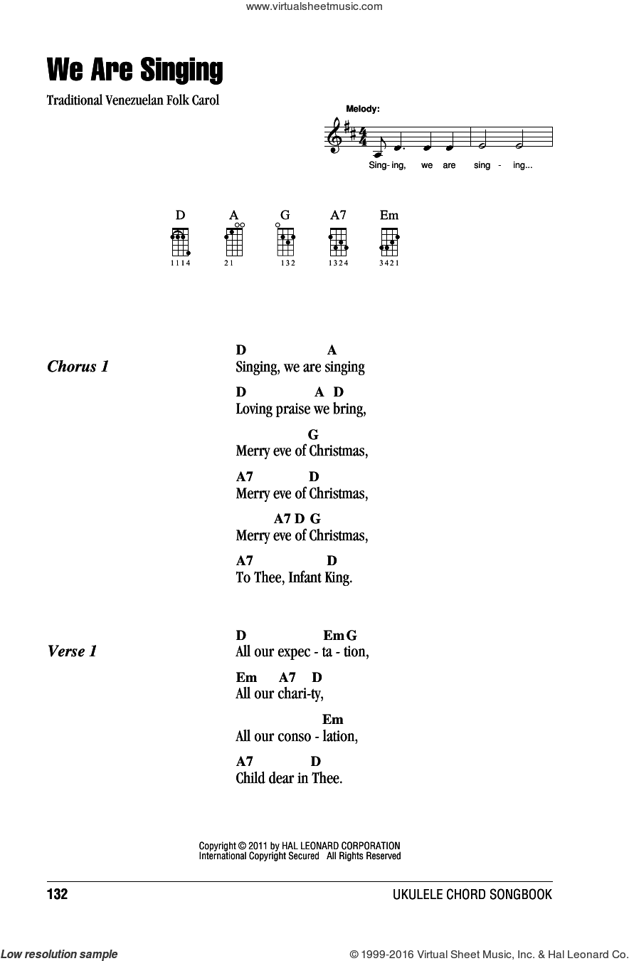 We Are Singing sheet music for ukulele (chords), intermediate. Score Image Preview.