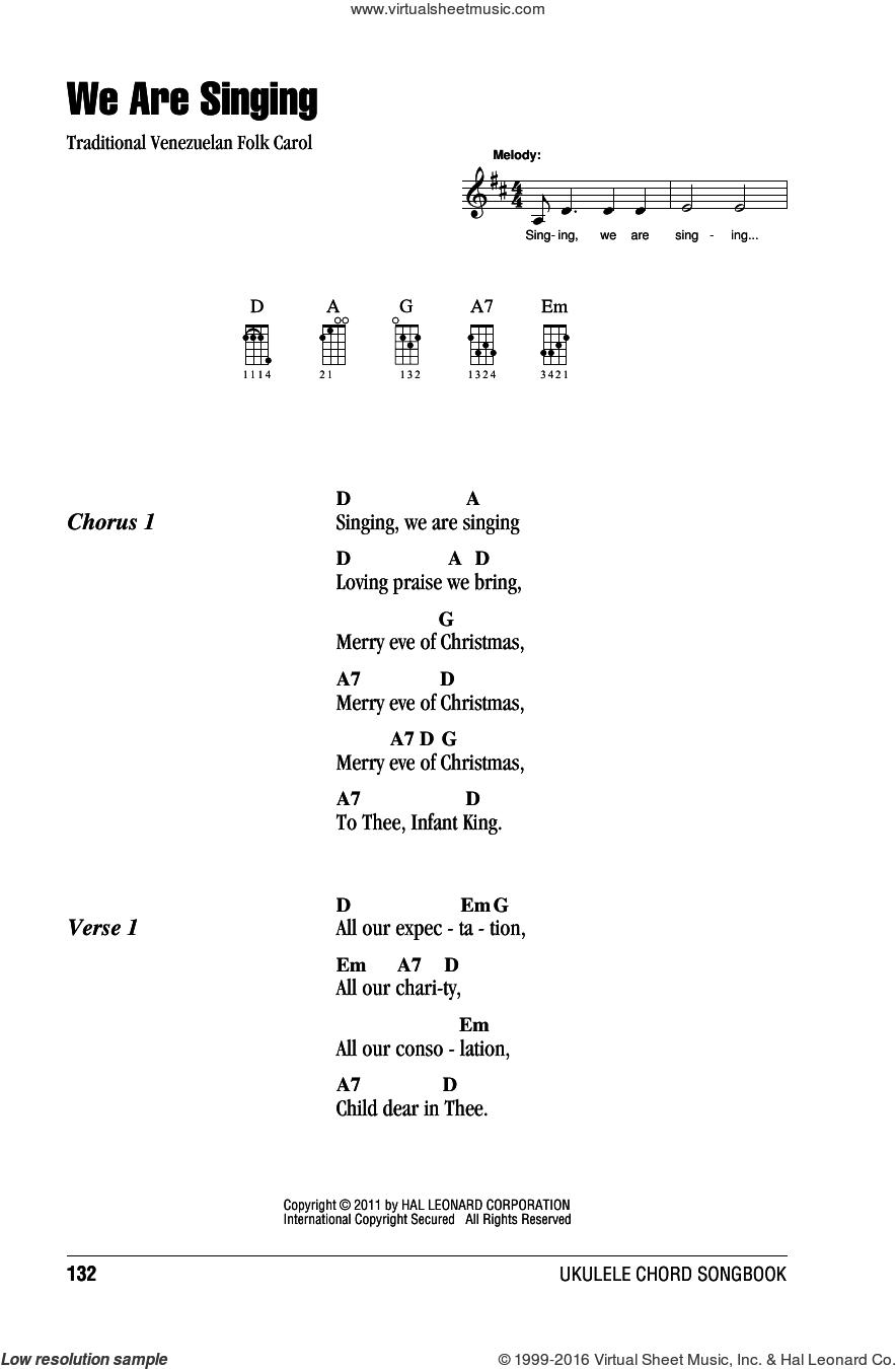 We Are Singing sheet music for ukulele (chords), intermediate skill level