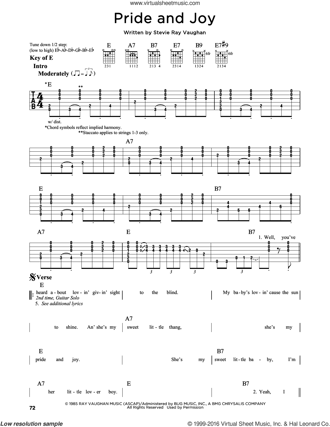 Pride And Joy sheet music for guitar solo (lead sheet) by Stevie Ray Vaughan. Score Image Preview.