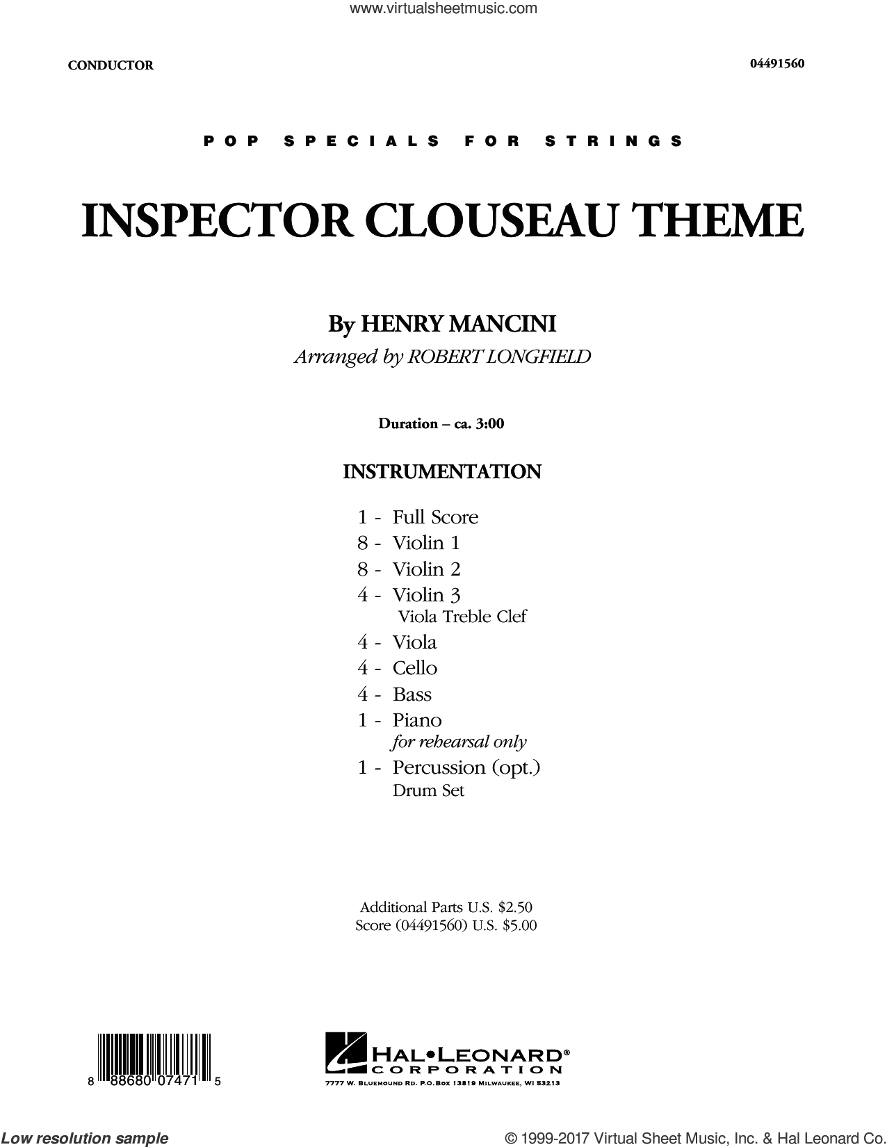 Inspector Clouseau Theme (from The Pink Panther Strikes Again) (COMPLETE) sheet music for orchestra by Robert Longfield and Henry Mancini, intermediate skill level