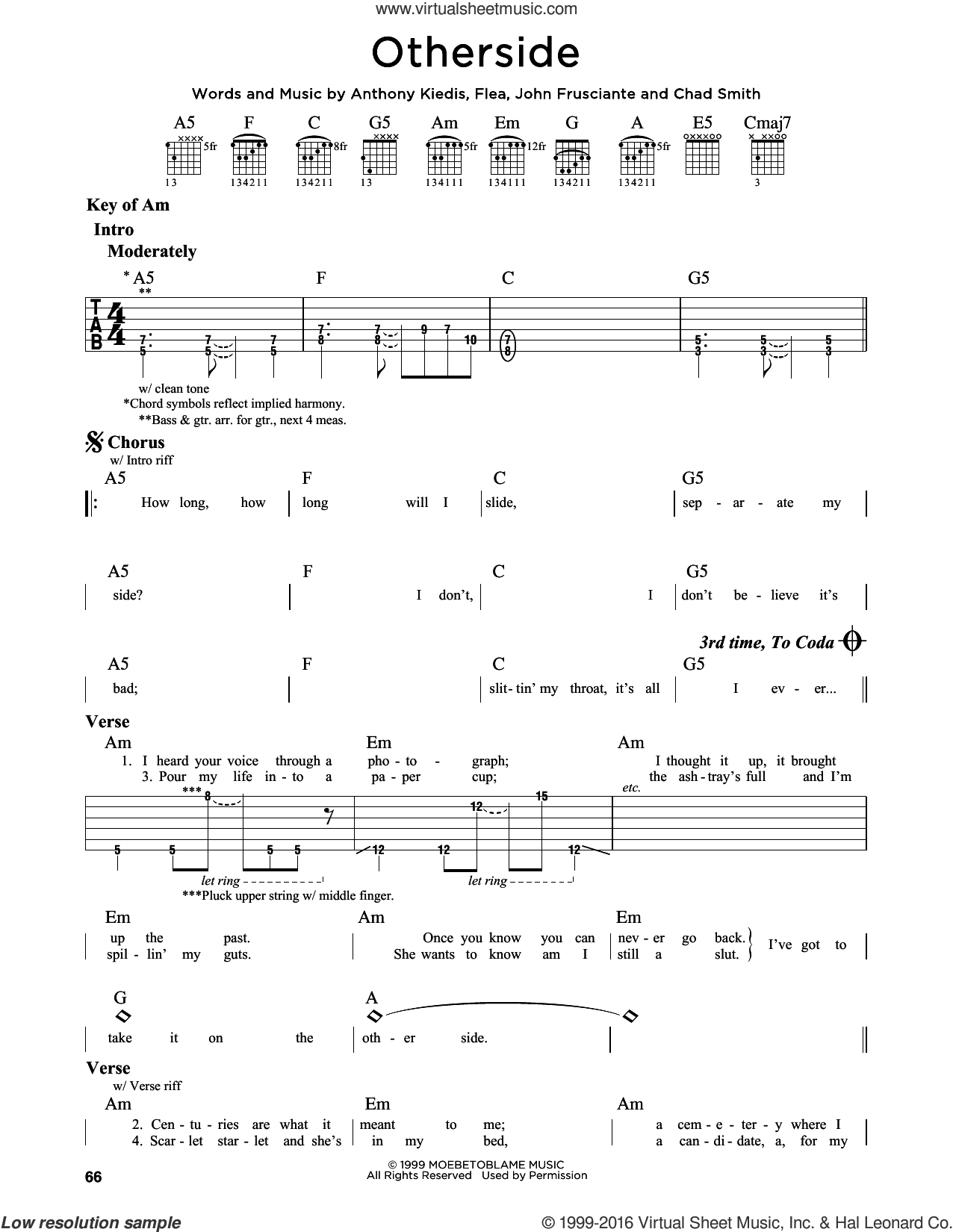 Otherside sheet music for guitar solo (lead sheet) by Red Hot Chili Peppers, Anthony Kiedis, Chad Smith, Flea and John Frusciante, intermediate guitar (lead sheet)