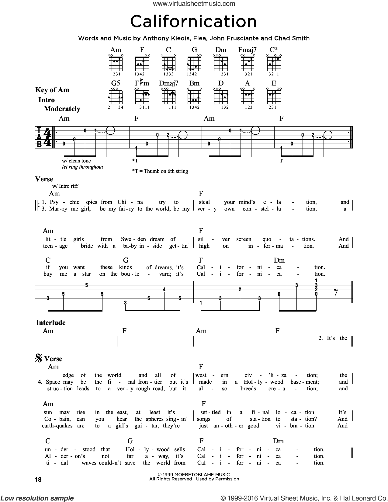 Californication sheet music for guitar solo (lead sheet) by John Frusciante, Red Hot Chili Peppers and Flea. Score Image Preview.