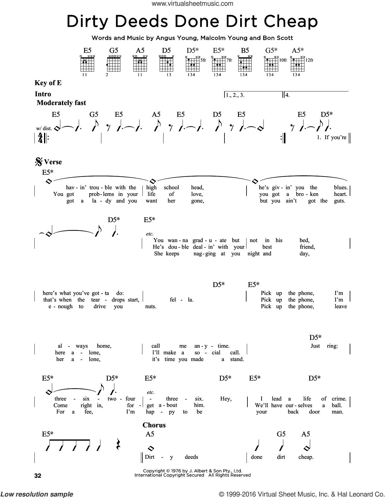 Dirty Deeds Done Dirt Cheap sheet music for guitar solo (lead sheet) by AC/DC. Score Image Preview.