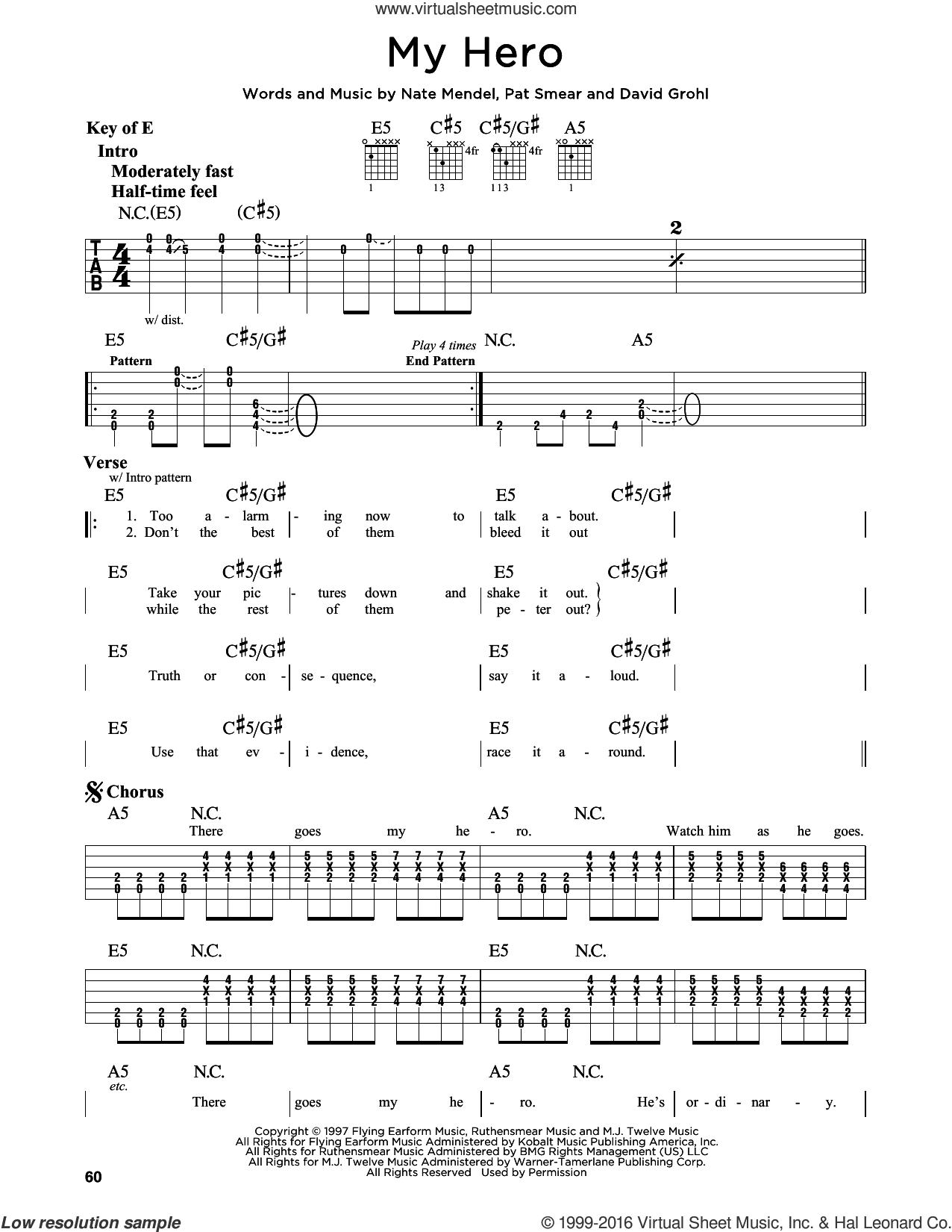 My Hero sheet music for guitar solo (lead sheet) by Pat Smear, Foo Fighters, Dave Grohl and Nate Mendel. Score Image Preview.