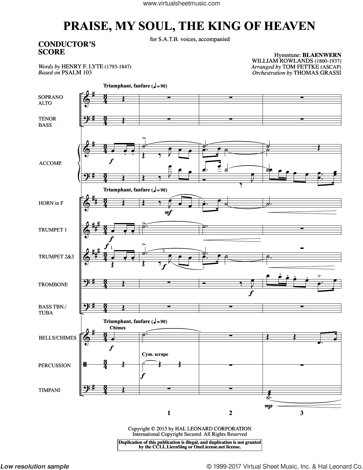 Praise, My Soul, The King of Heaven (COMPLETE) sheet music for orchestra/band by Tom Fettke, Henry F. Lyte and William Rowlands, intermediate skill level