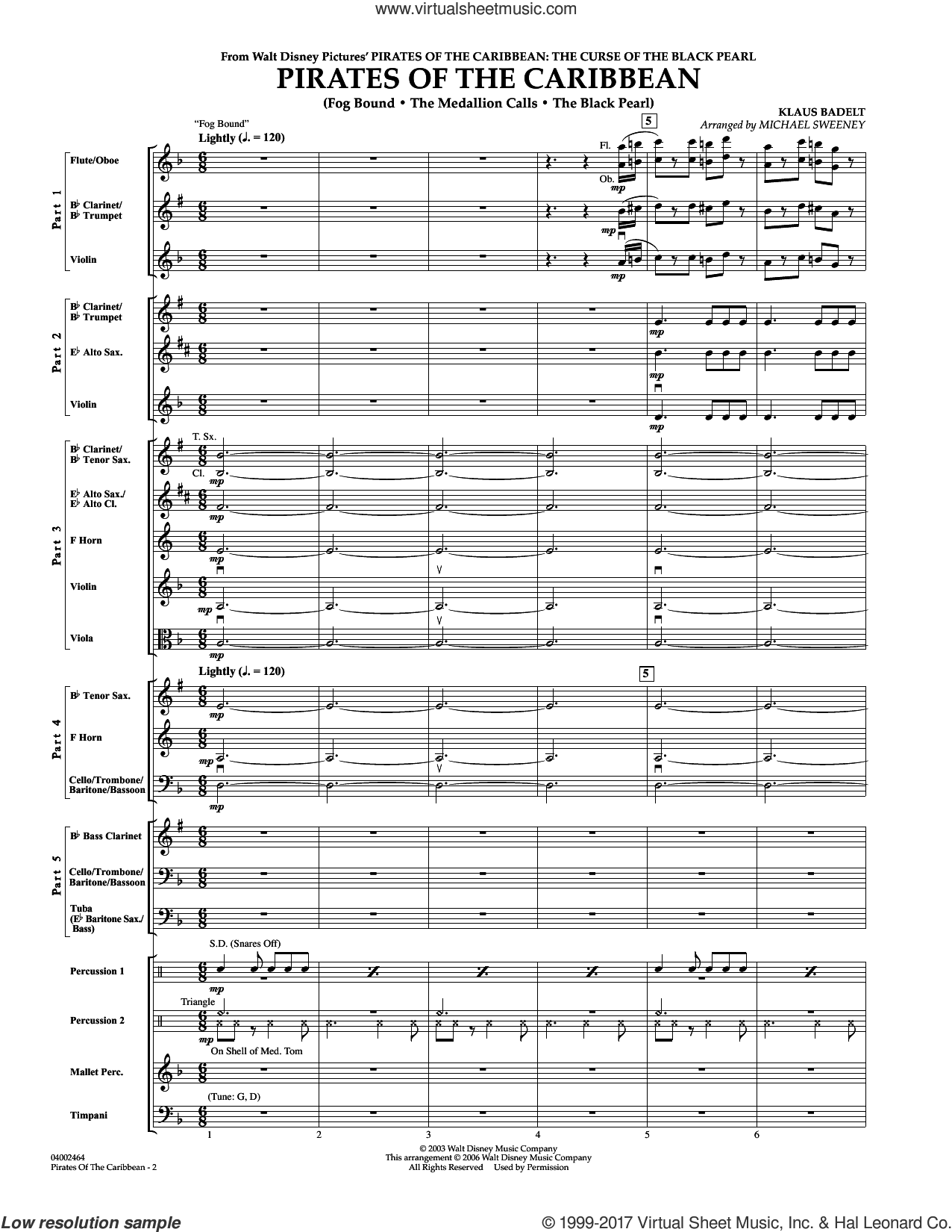 Pirates Of The Caribbean (COMPLETE) sheet music for concert band by Michael Sweeney and Klaus Badelt, intermediate skill level