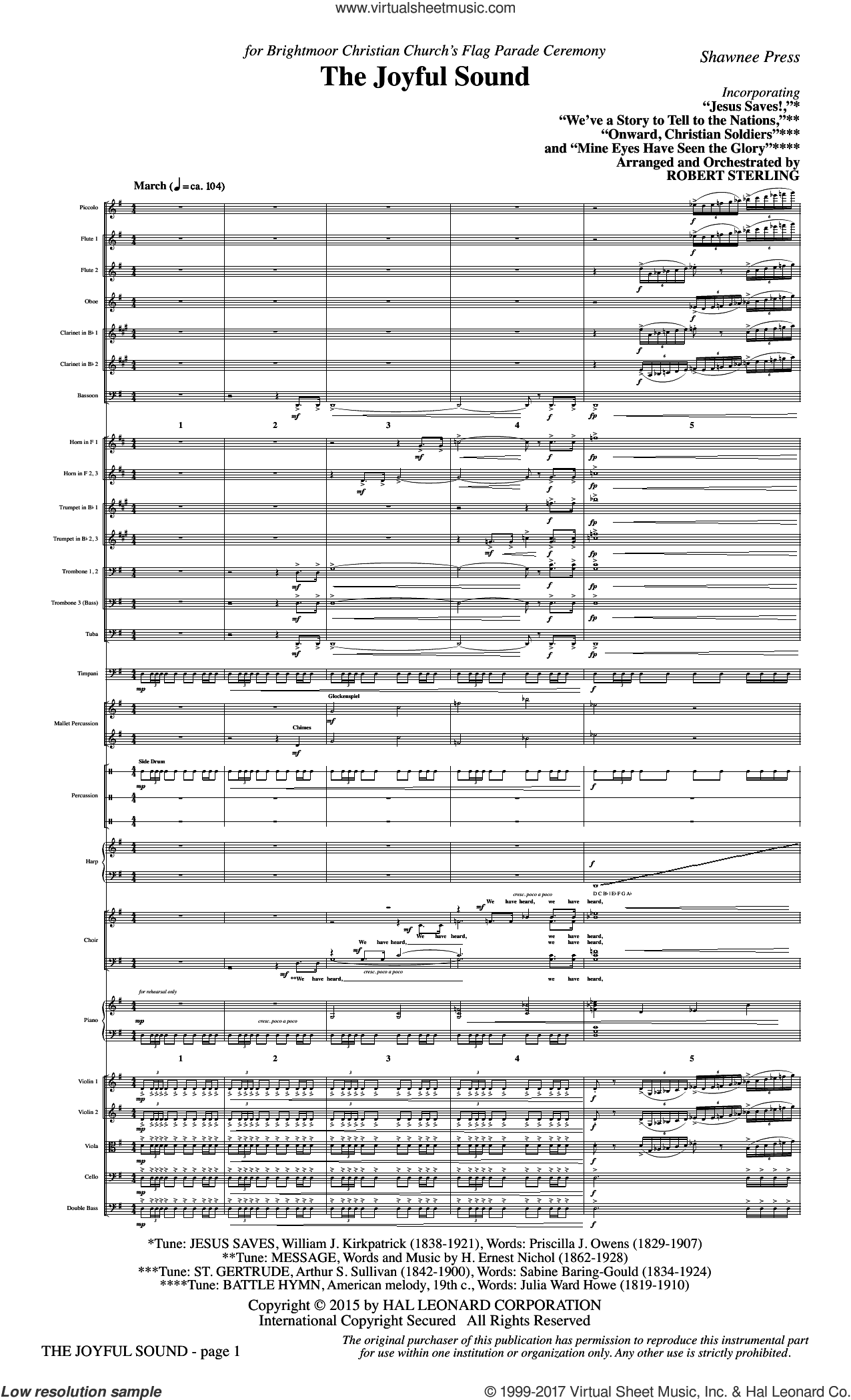 The Joyful Sound (COMPLETE) sheet music for orchestra/band by Robert Sterling, Julia Ward Howe and William Steffe, intermediate skill level