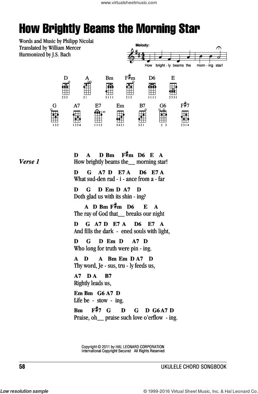 How Brightly Beams The Morning Star sheet music for ukulele (chords) by Johann Sebastian Bach, Philipp Nicolai and William Mercer, intermediate