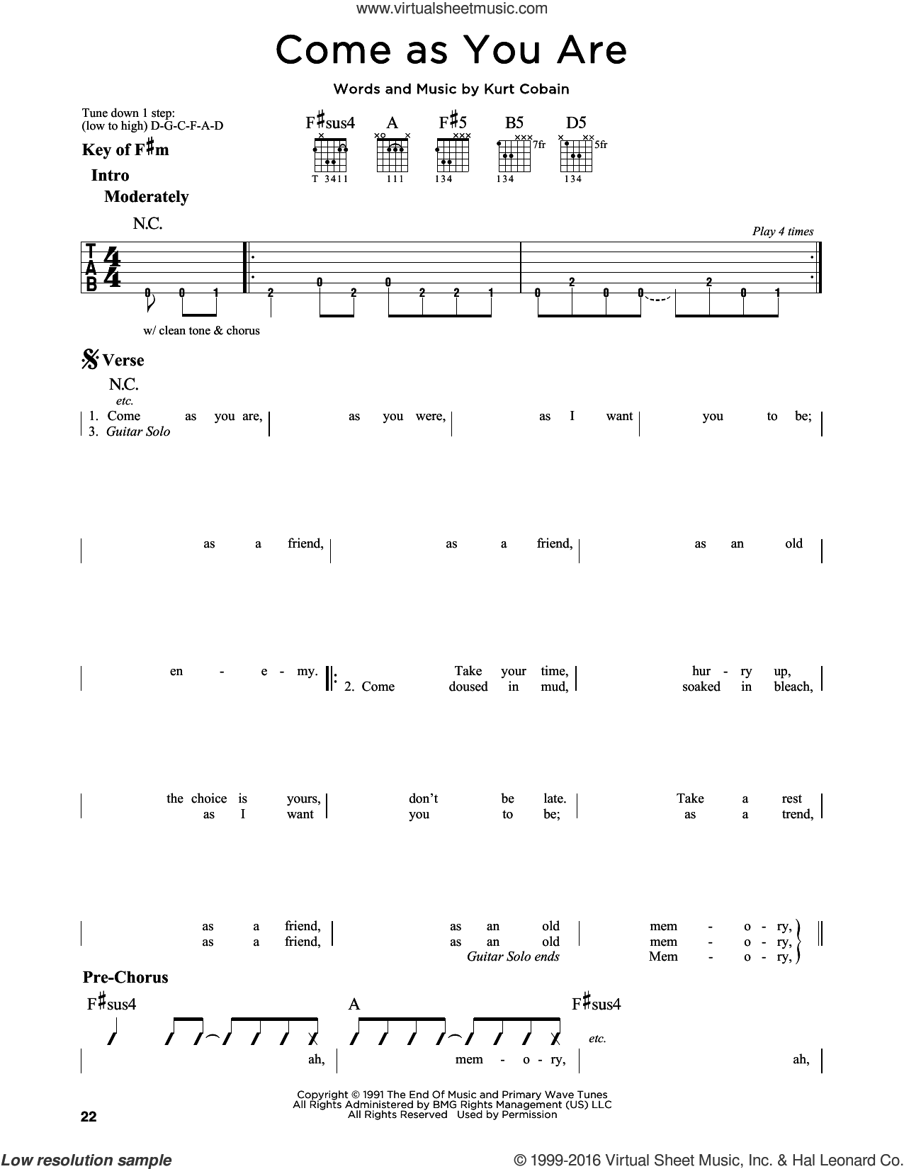 Come As You Are sheet music for guitar solo (lead sheet) by Nirvana and Kurt Cobain, intermediate guitar (lead sheet)