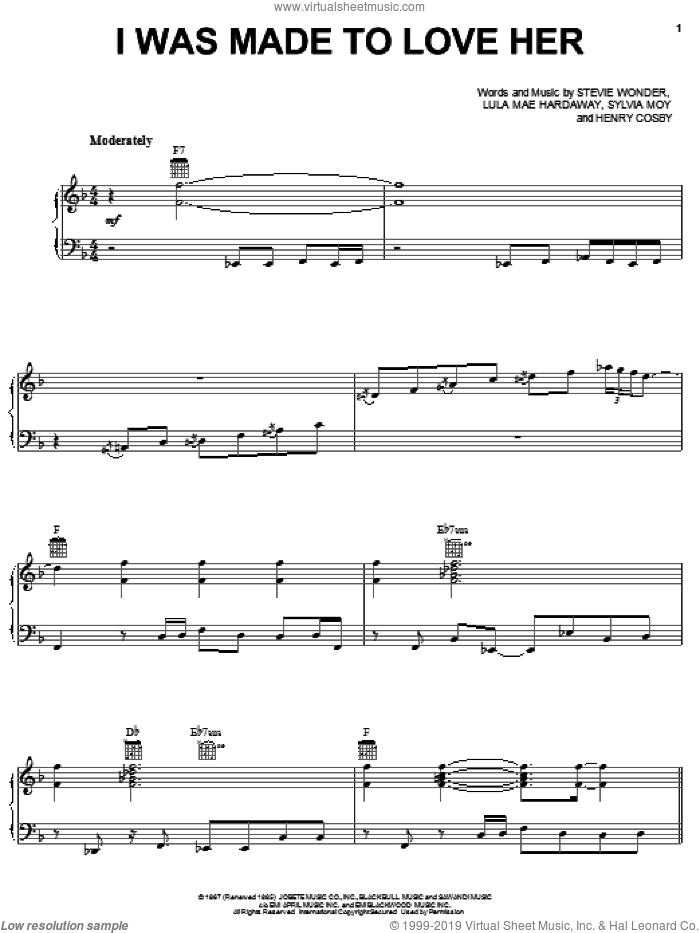 I Was Made To Love Her sheet music for voice, piano or guitar by Michael McDonald, Henry Cosby, Lula Mae Hardaway, Stevie Wonder and Sylvia Moy, intermediate skill level