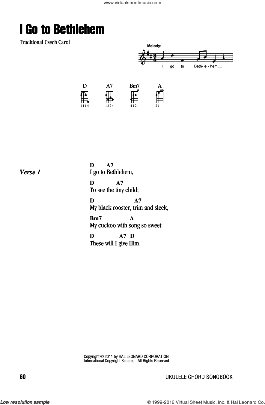I Go To Bethlehem sheet music for ukulele (chords), intermediate. Score Image Preview.