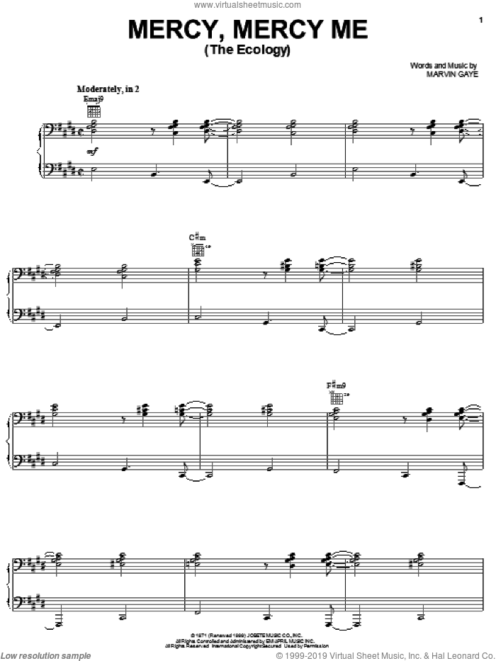 Mercy, Mercy Me (The Ecology) sheet music for voice, piano or guitar by Michael McDonald and Marvin Gaye. Score Image Preview.