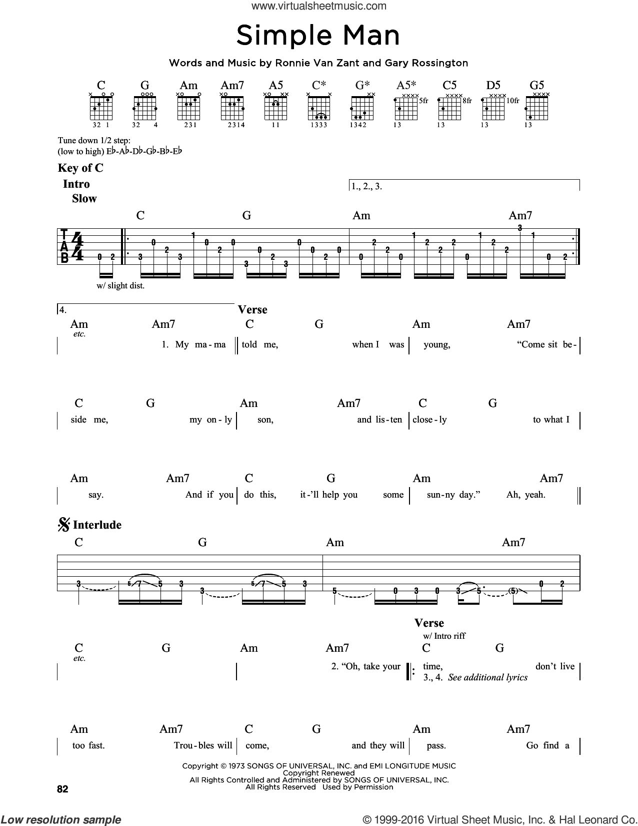 Simple Man sheet music for guitar solo (lead sheet) by Ronnie Van Zant, Lynyrd Skynyrd and Gary Rossington. Score Image Preview.