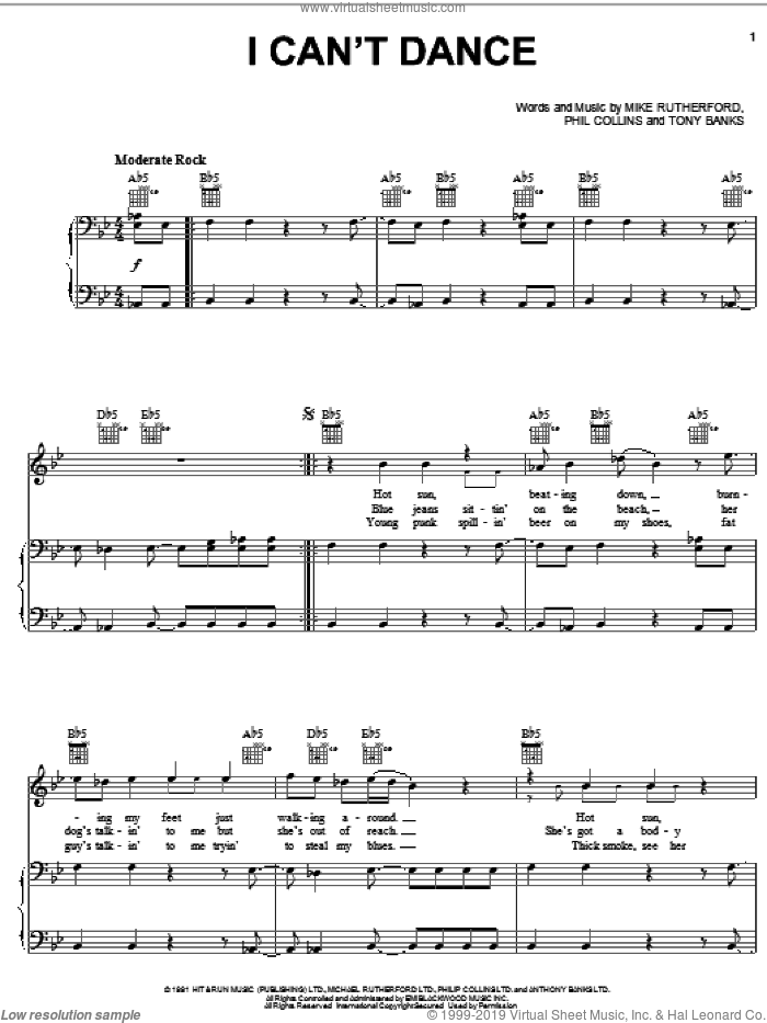 I Can't Dance sheet music for voice, piano or guitar by Tony Banks, Genesis, Mike Rutherford and Phil Collins. Score Image Preview.