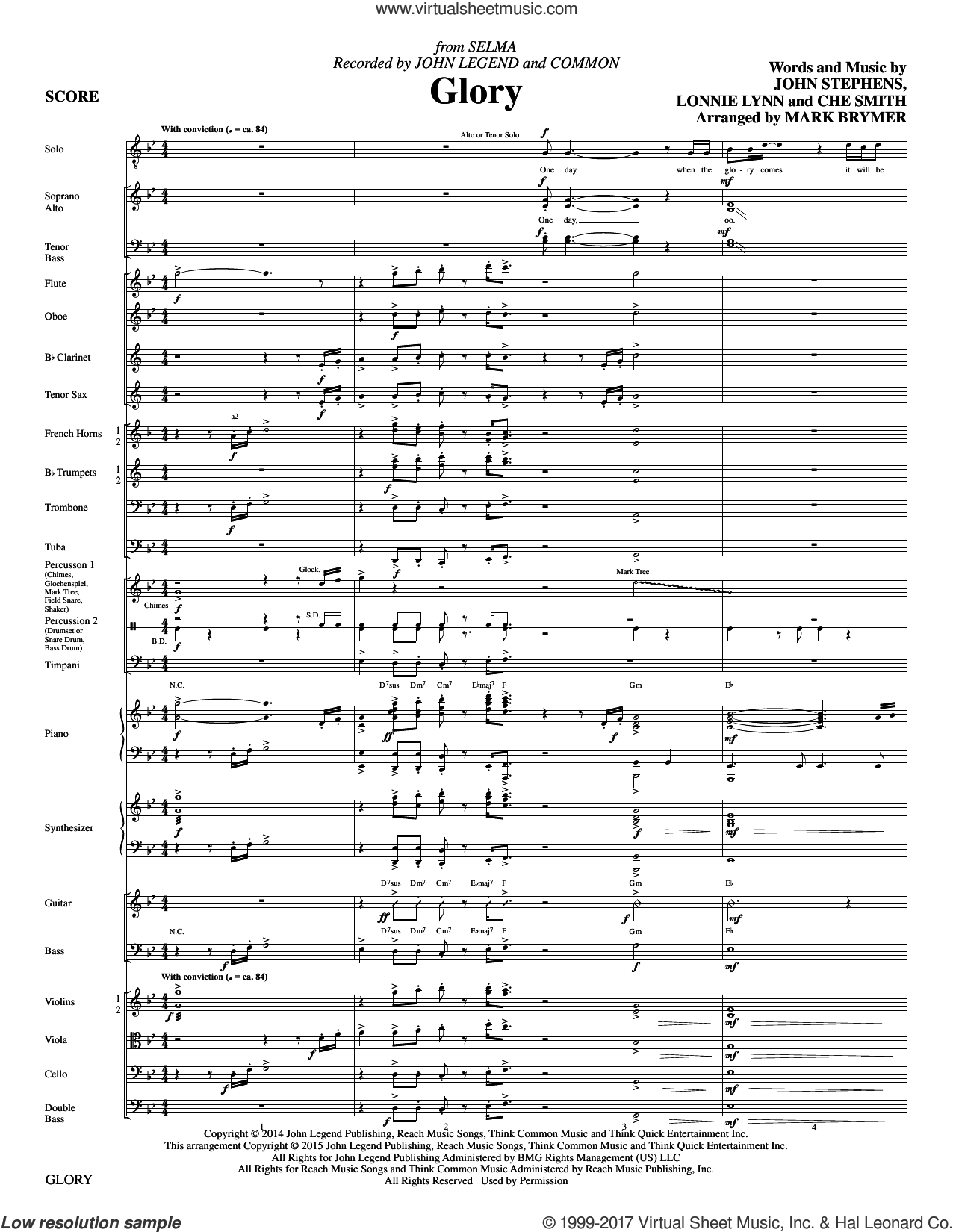 Glory (COMPLETE) sheet music for orchestra/band by Mark Brymer, Che Smith, Common & John Legend, John Stephens and Lonnie Lynn, intermediate skill level