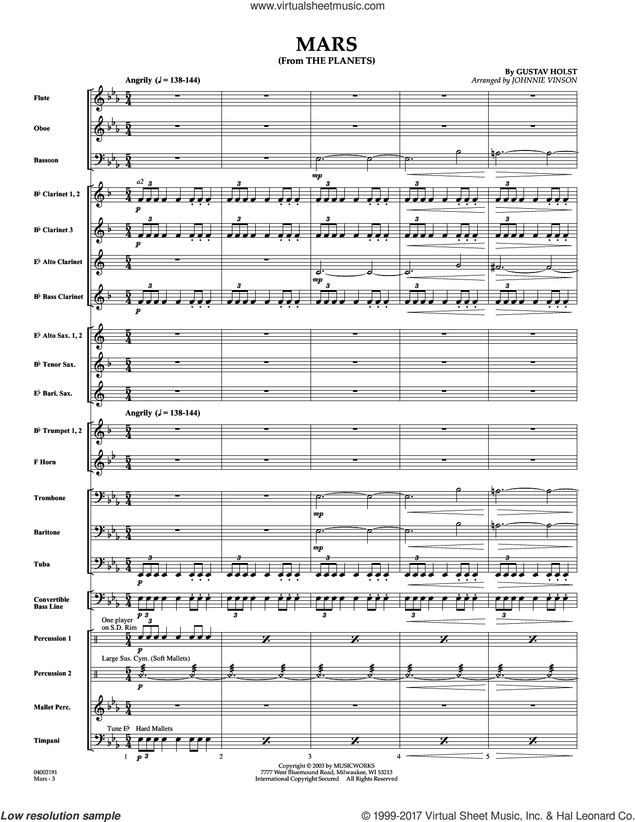 Mars (from The Planets) (COMPLETE) sheet music for concert band by Johnnie Vinson and Gustav Holst, intermediate. Score Image Preview.