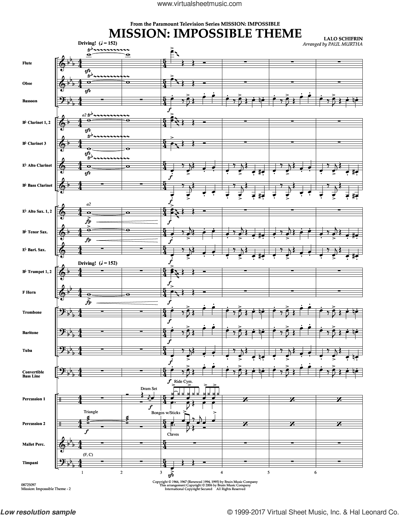 Mission: Impossible Theme (COMPLETE) sheet music for concert band by Paul Murtha, Adam Clayton and Larry Mullen and Lalo Schifrin, intermediate. Score Image Preview.
