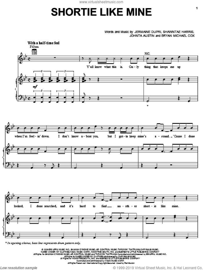 Shortie Like Mine sheet music for voice, piano or guitar by Bow Wow featuring Chris Brown & Johnta Austin, Bow Wow, Bryan Michael Cox, Jermaine Dupri, Johnta Austin and Shawntae Harris, intermediate skill level