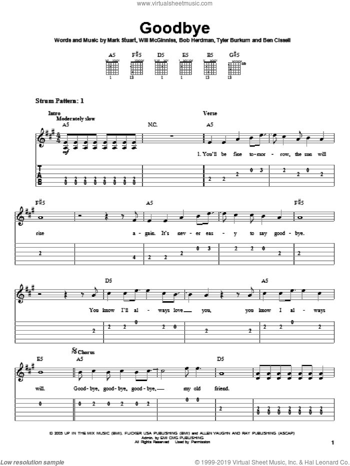 Goodbye sheet music for guitar solo (easy tablature) by Audio Adrenaline, Ben Cissell, Bob Herdman, Mark Stuart, Tyler Burkum and Will McGinniss, easy guitar (easy tablature)