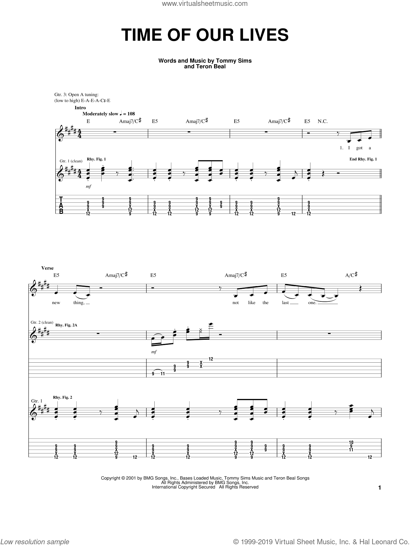 Time Of Our Lives sheet music for guitar (tablature) by Teron Beal and Tommy Sims, intermediate skill level