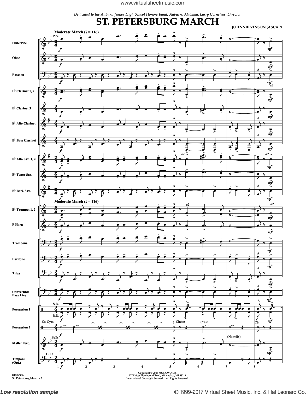 St. Petersburg March (COMPLETE) sheet music for concert band by Johnnie Vinson, intermediate skill level