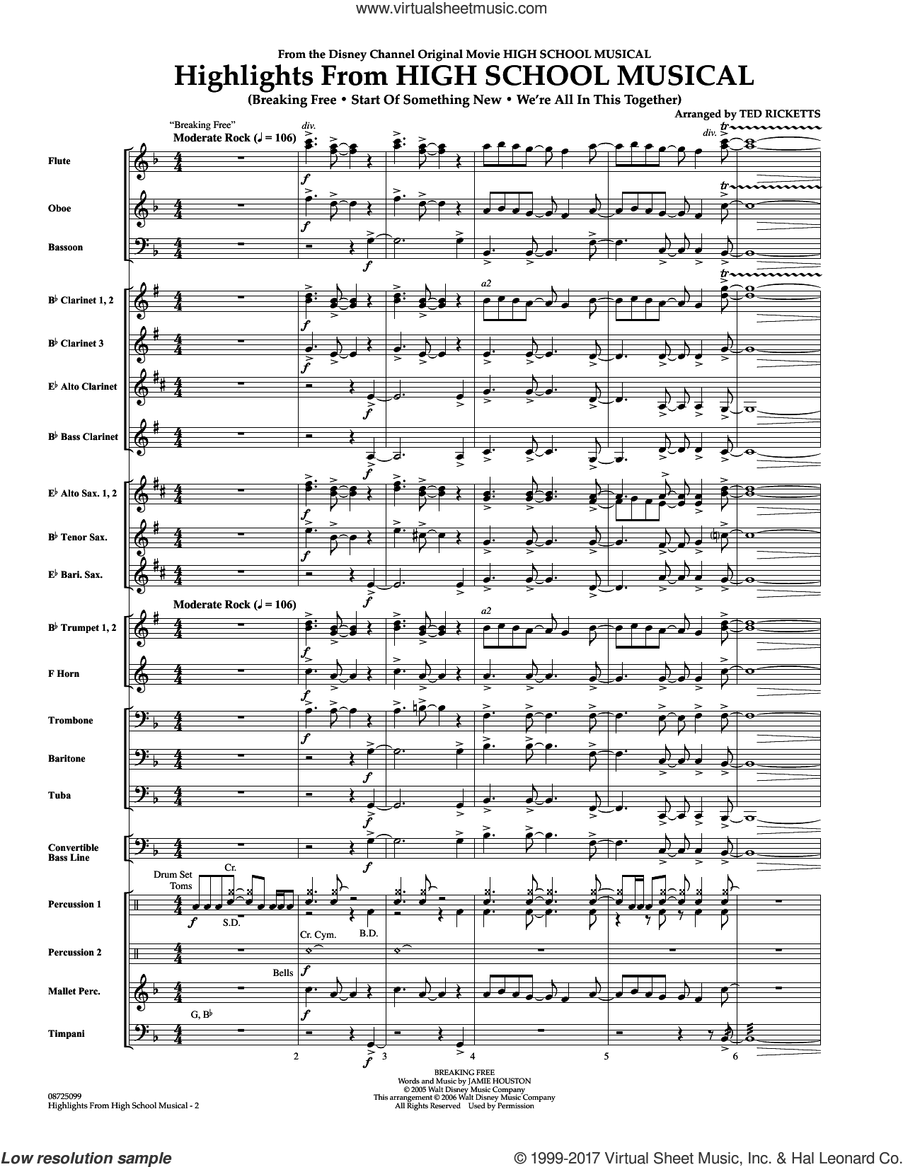 Highlights From 'High School Musical' (COMPLETE) sheet music for concert band by Ted Ricketts, intermediate skill level