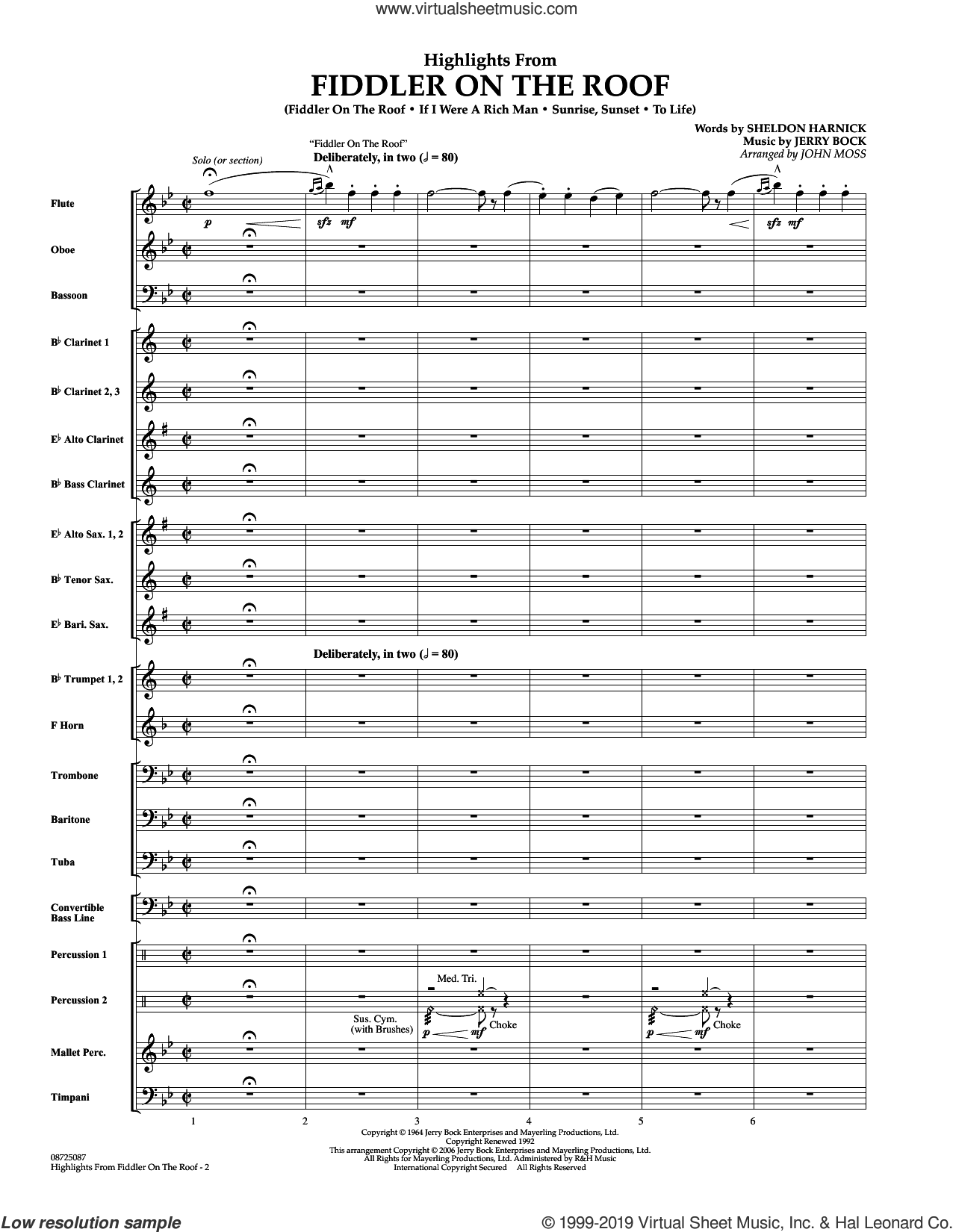 Highlights From Fiddler On The Roof (COMPLETE) sheet music for concert band by Sheldon Harnick, Jerry Bock and John Moss, intermediate skill level